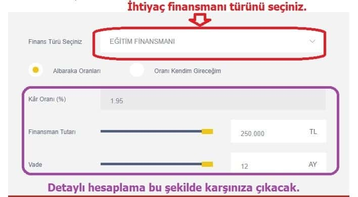 albaraka turk faizsiz ihtiyac kredisi